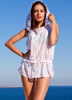 Don't forget the all important beach cover-up. Stay covered and looking oh-so cool in the white lace beach hoody.