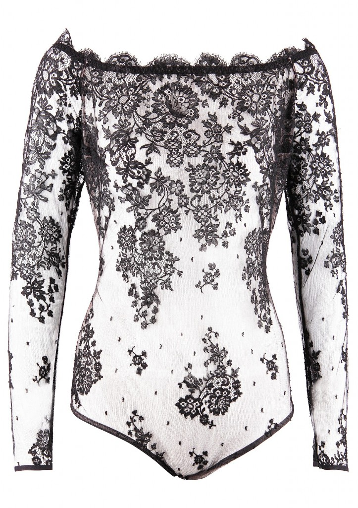 ID Sarrieri black lace off-the-shoulder body