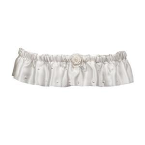 Ivory satin bridal wedding garter with pearls