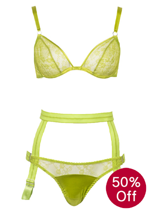 Fleur of England dash of lime lace lingerie on sale