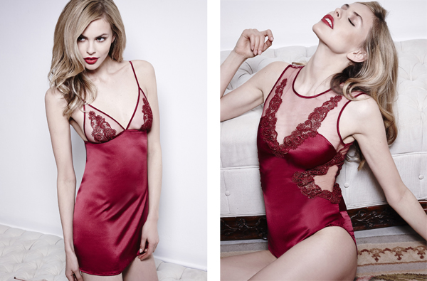 Scarlet Ruby lace silk lingerie by fleur of england