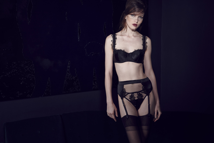 After Dark Balcony Bra, Thong and Suspender Belt