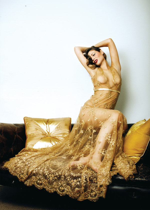 Loveday London Gold Goddess Lace Gown
